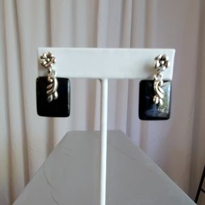Silver Toned and Black Pierced Earrings